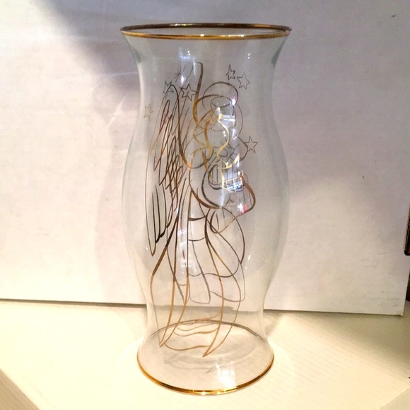 Angel & Harp Pillar Candle Glass Hurricane
